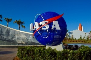 NASA logo at the Kennedy Space Center. Florida